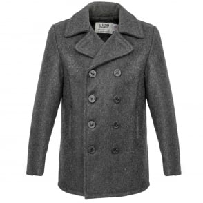 Schott Classic Melton Wool Grey Peacoat 740