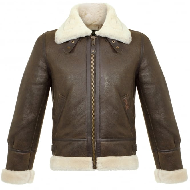 Schott NYC Schott LC1259 Bombardier Marron Sheepskin Leather Jacket
