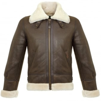 Schott LC1259 Bombardier Marron Sheepskin Leather Jacket