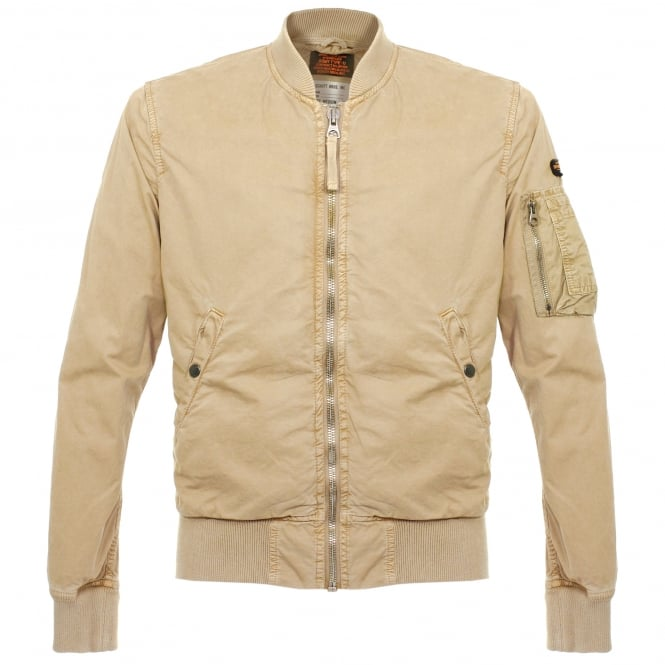 Schott NYC Clay Beige Bomber Jacket CIS1701