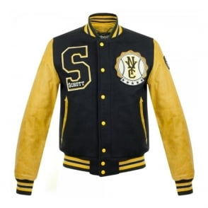 Schott NYC LC 5701 Varsity Navy Yellow Bomber Jacket