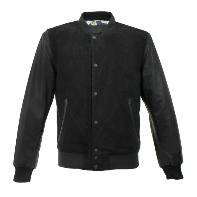 Schott NYC LC5712 Black Suede Baseball Jacket LC5712