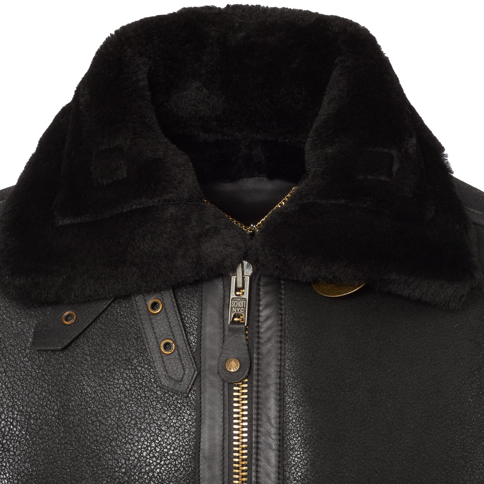 Schott Bombardier Black Sheepskin Leather Jacket LC1259 - Winter ...