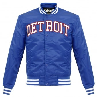 Schott NYC Stadium Detroit Electric Blue Bomber Jacket