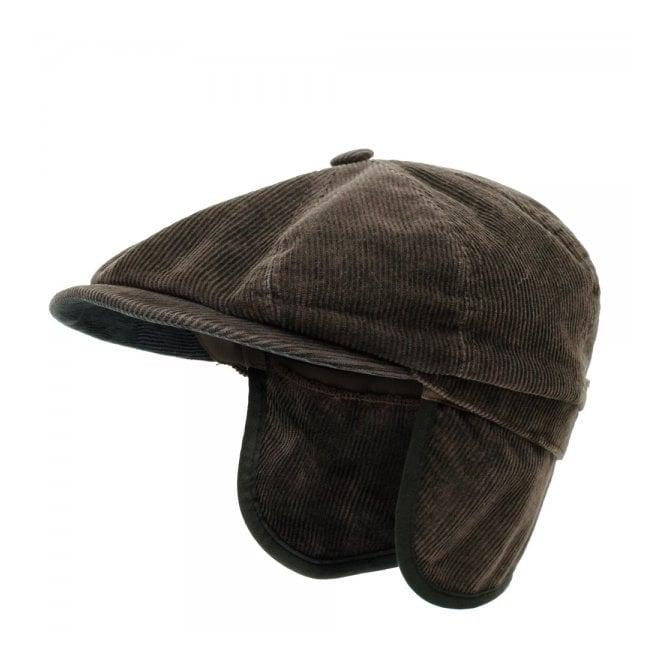Hatteras Corduroy Ear Flap Flat Cap- Brown 74b9b6aabd3