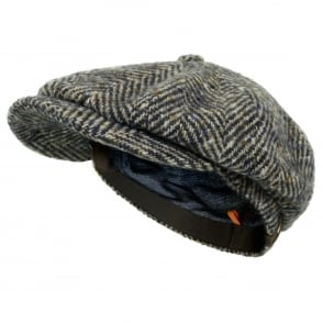Stetson Herringbone Grey Wool Newsboy Flat Cap 6840502 327