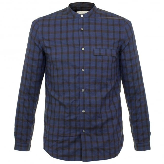 Still By Hand Granddad Check Navy Shirt SH0263OS
