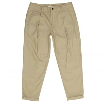 Still By Hand Pleated cotton Beige Trousers PT0471OS