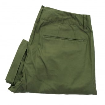 Still By Hand Pleated cotton Olive Trousers PT0471OS