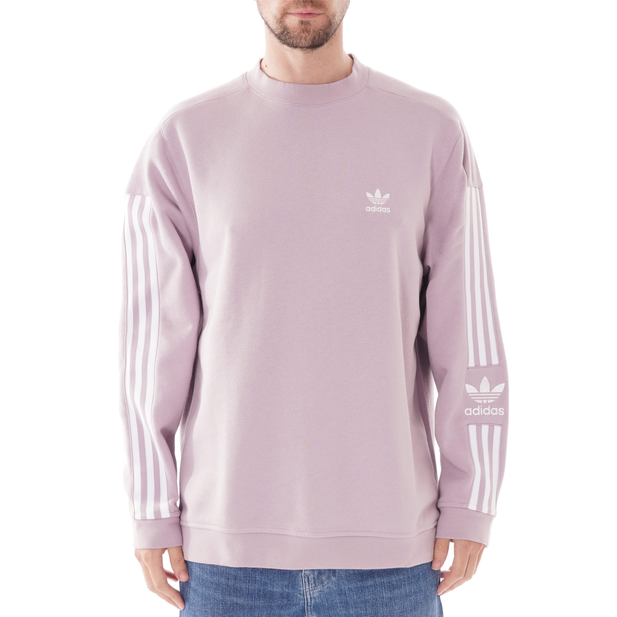 adidas originals tech 3 stripe t shirt lilac