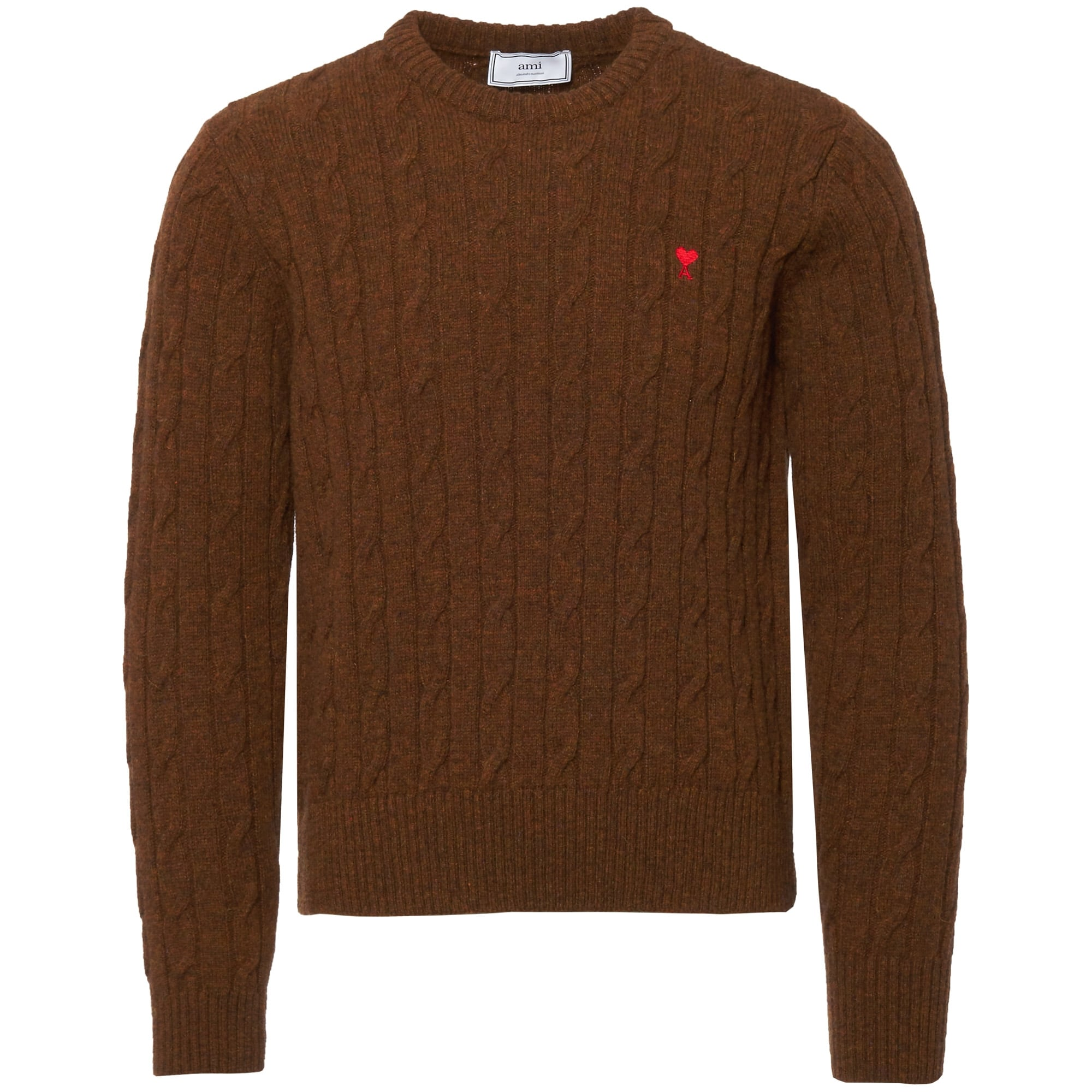 Ami Tobacco Cable Knit Sweater H17k017 Us Stockists