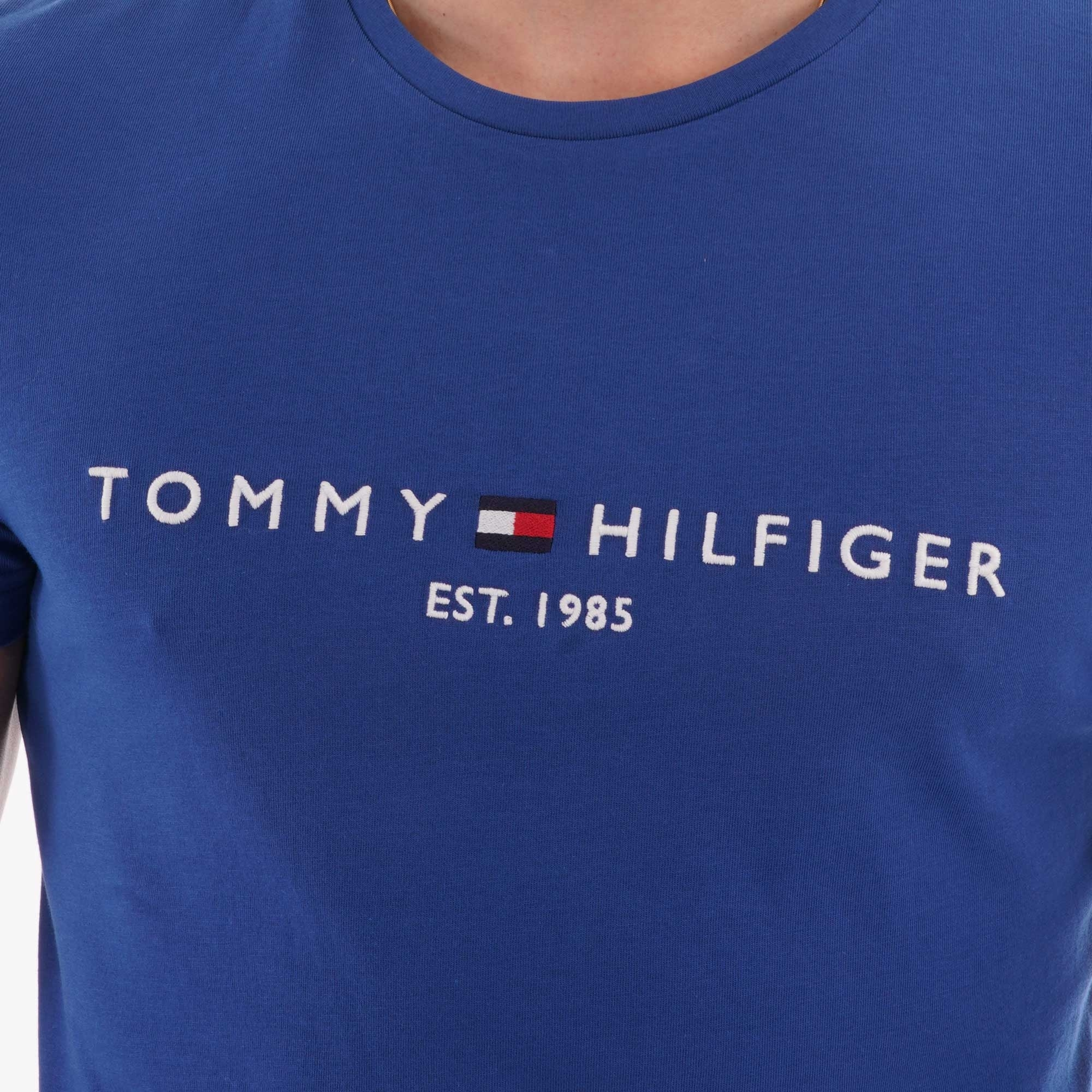 Tommy Hilfiger Mens Organic Cotton Logo T-Shirt Blue