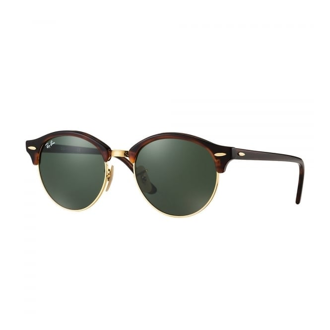 Ray Ban Tortoise Clubround Classic Sunglasses - Green Classic G-15 Lenses