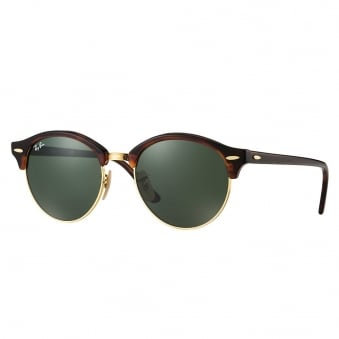 Tortoise Clubround Classic Sunglasses - Green Classic G-15 Lenses