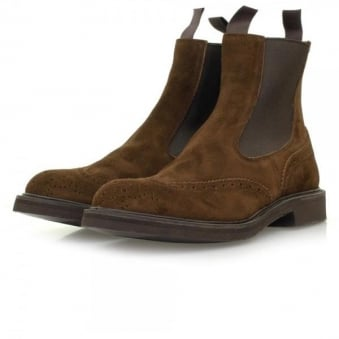 Tricker's Repello Chocolate Brogue Suede Boots M2754