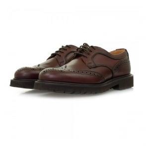 Tricker's X Stuarts London Derby Burgundy Brogue Leather Shoes M7788