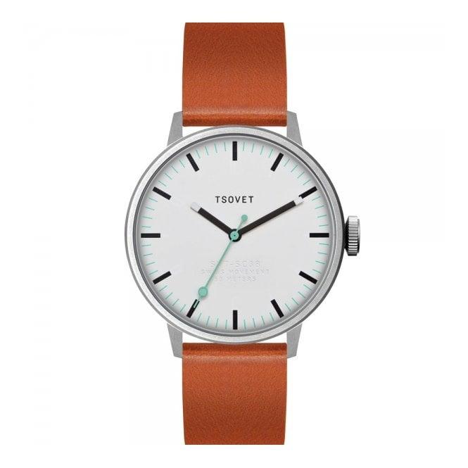 Tsovet Watches Tsovet SVT-SC38 White Tan Watch SC111513-40
