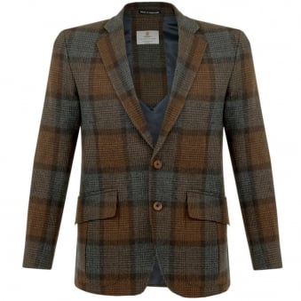 Turnbull & Asser Ashby Wool Brown Check Blazer MBLZ004