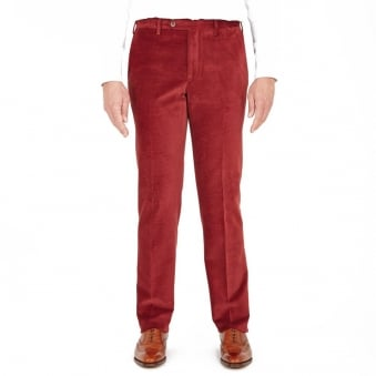 Turnbull & Asser Wide Horizontal Wine Corduroy Trousers TU341POYEL