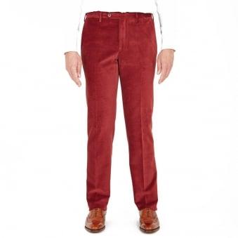 Turnbull & Asser Wide Horizontal Wine Corduroy Trousers TU341POYEL