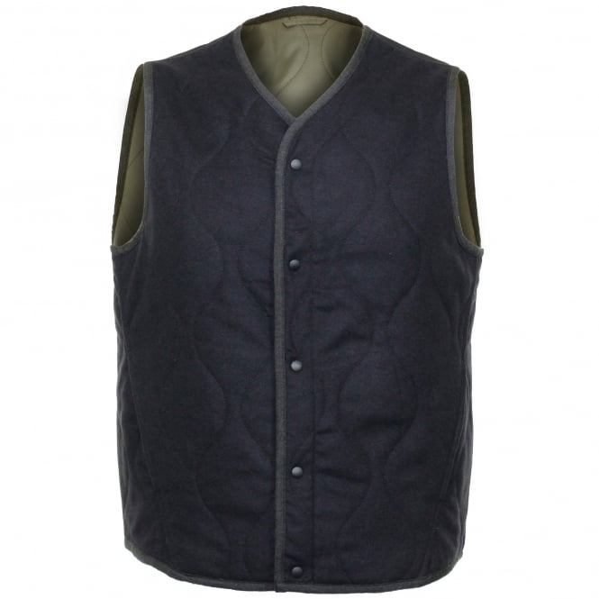 Universal Works Fresh Water Wool Navy / Olive Gilet 15157