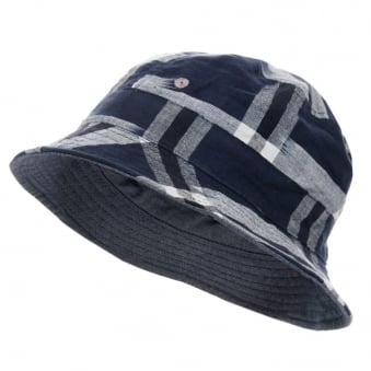 Universal Works Ikat Check Navy Bucket Hat 12817