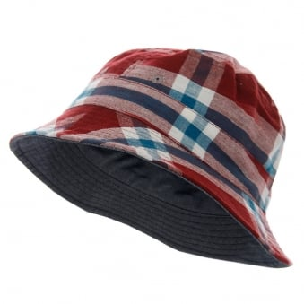 Universal Works Ikat Check Red Bucket Hat 12817