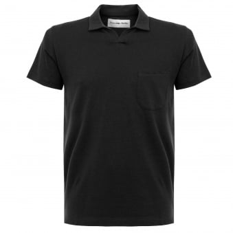 Universal Works Pique Black Polo Shirt 16580