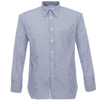 Universal Works Point Collar Fine Stripe Blue Shirt 15662