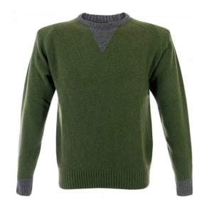 Universal Works Sports Wool Knit Olive Jumper 11547