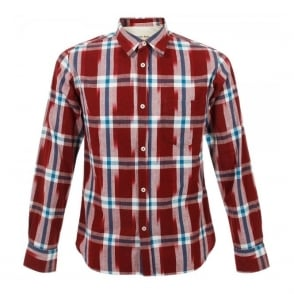 Universal Works Standard Shirt Red Ikat Check