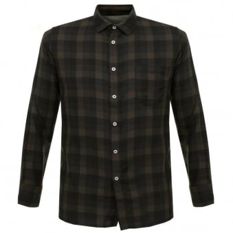 Universal Works Urban Check Navy Brown Shirt 15653