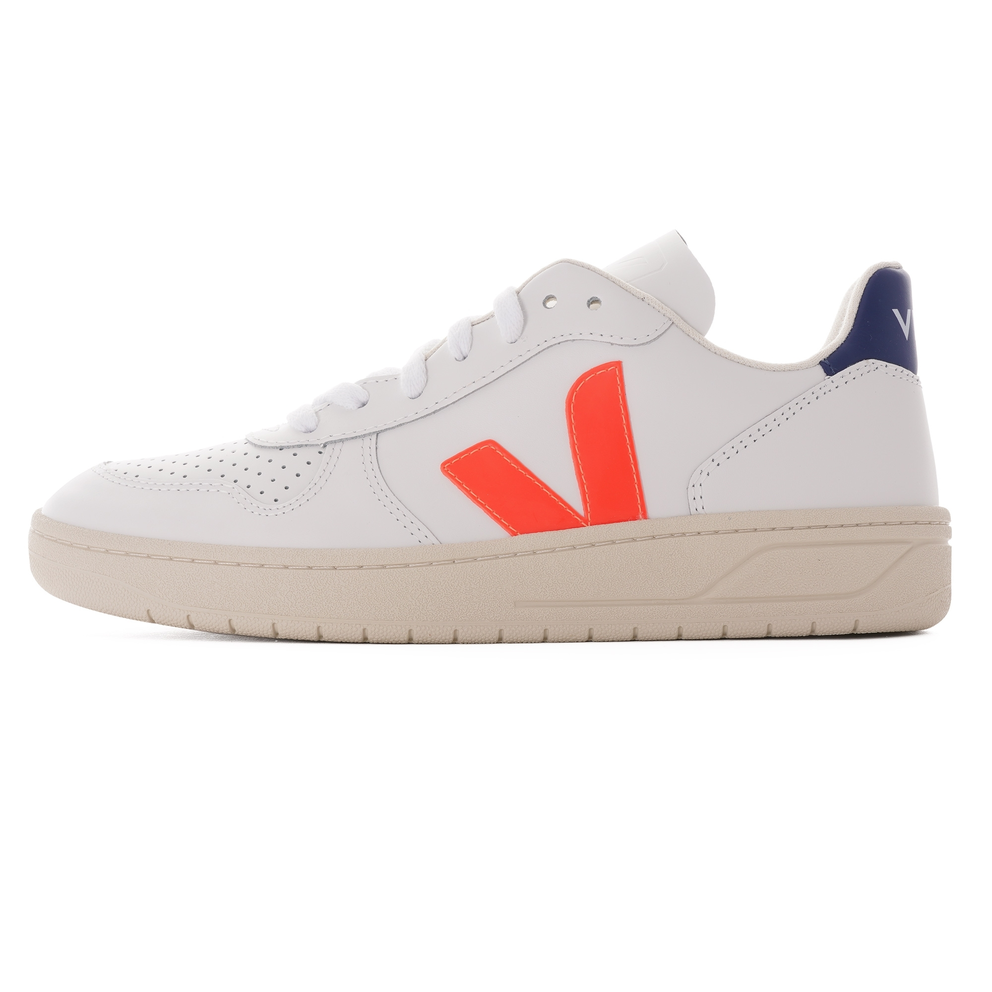 laringe Síguenos Lógico  VEJA V-10 Leather Womens |White & Orange| 22136-WORN