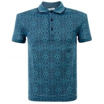 Versace Aztec Blue Fantasia Polo Shirt V800543
