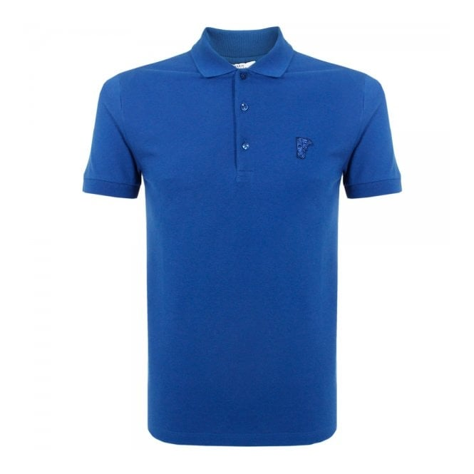 Versace Collection Versace Half Medusa Blue Pique Polo Top V800499