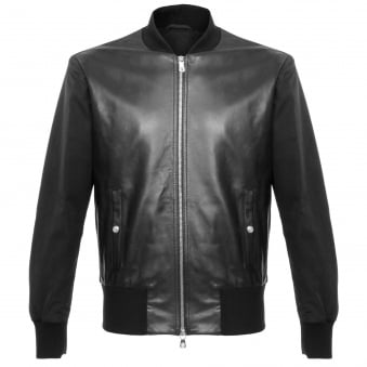 Versace Lambskin Black Leather Bomber Jacket BU50273