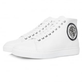 Versace Lion Head Hi Top White Shoe FSU510C