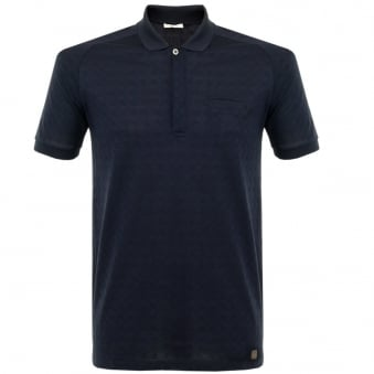 Versace Patterned Navy Polo Shirt V800580