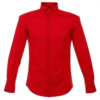 Versace Red Poplin Shirt v300197