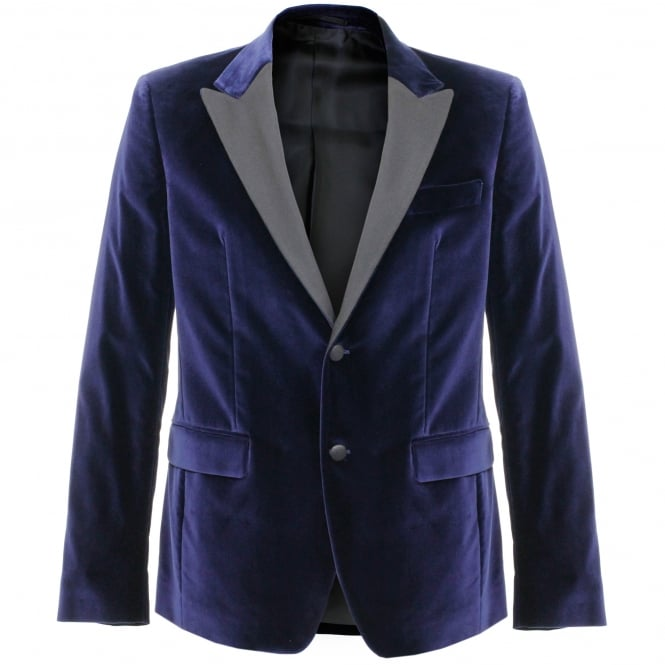 Versace Collection Versace Velour Navy Blazer V120129