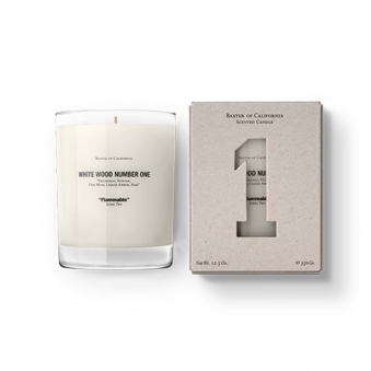 White Wood Number 1 Flammable Candle