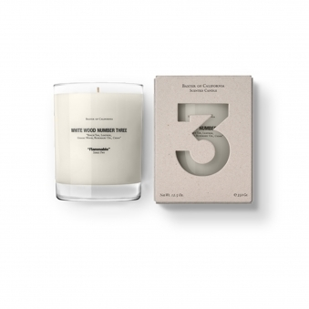White Wood Number 3 Flammable Candle