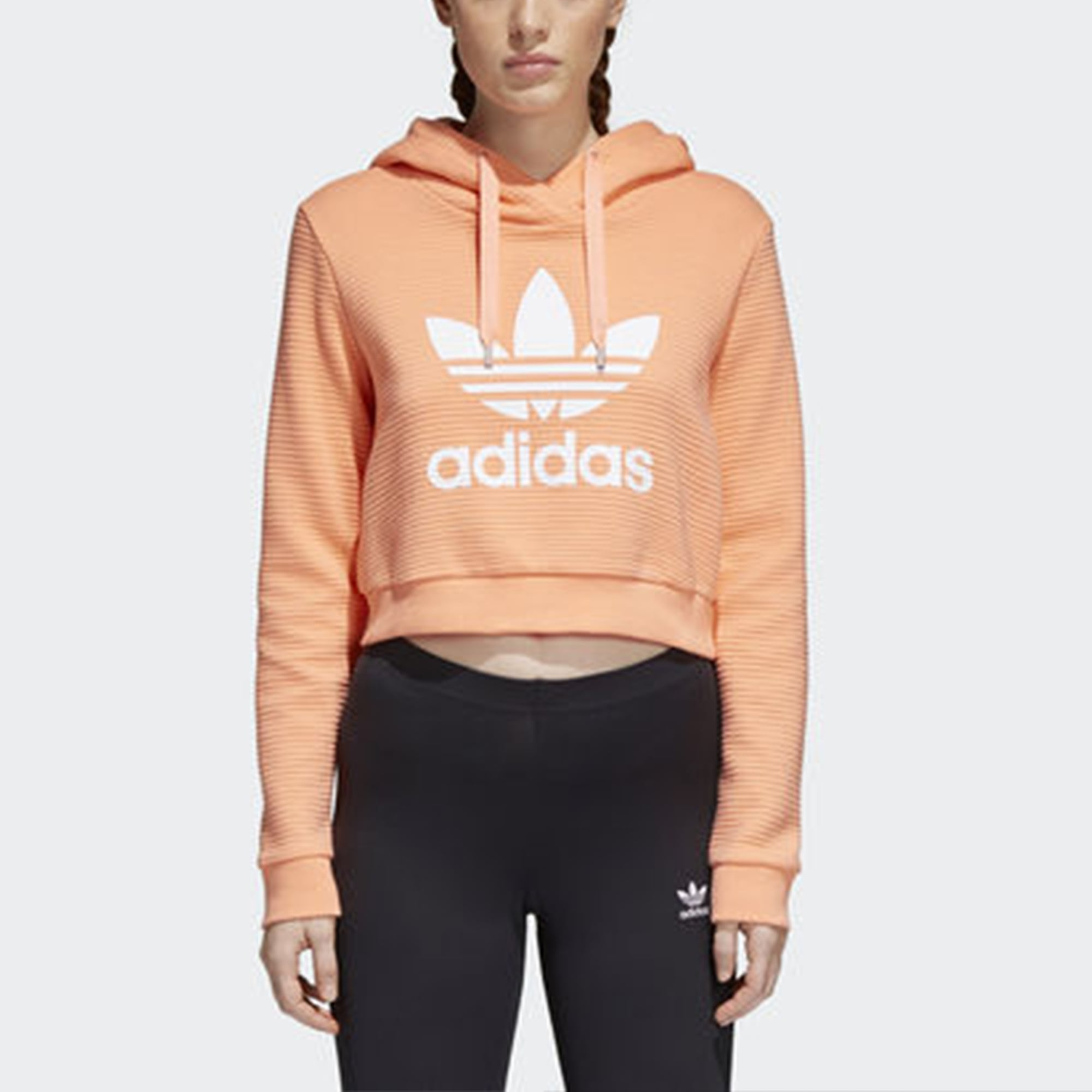 5daf20ee38e Adidas Originals Trefoil Cropped Hoodie | Chalk Coral | CD6879