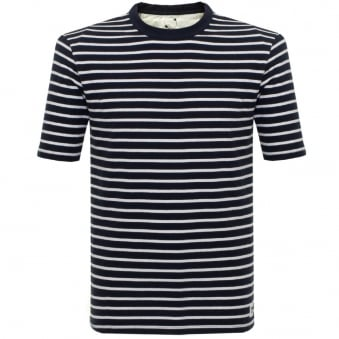 Wood Wood Herman Navy Striped T-Shirt 10005702-2000