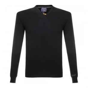 Woolrich Super Geelong V-Neck Knitted Black Jumper 129551-100