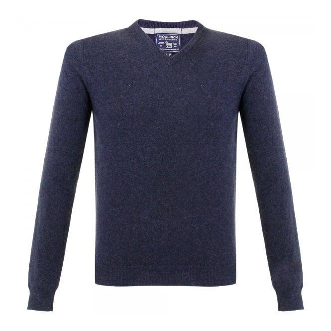 Woolrich Super Geelong V-Neck Knitted Navy Jumper 129551-336